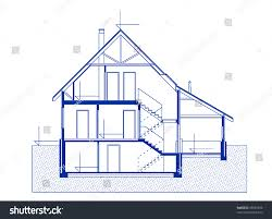 Home Blue Print by Architectural House Blueprint Blue Color Fasade Stock Vector