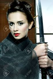 japanesse women with grey hair beautiful japanese grey kimono woman with samurai sword in