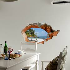 3d beach wall decals 38 inch removable sea wall art stickers home home decor sku270534 3