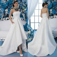 cheap 2016 high low wedding dresses garden strapless neck pocket
