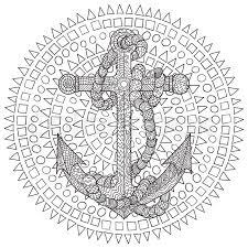 hand drawn illustration of an anchor and in the zentangle