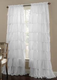 vintage dining room with white ruffle curtains panels and beige