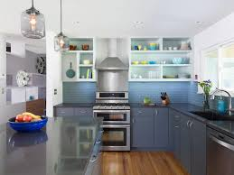 glass backsplash bold colors blue tile austin kitchen modern dark