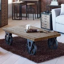 Coffee Tables With Wheels Large Industrial Wooden Iron Coffee Table With Black Wheels Retro