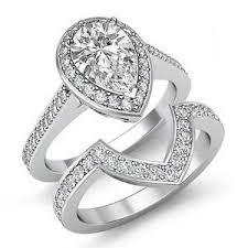 women s engagement rings pear diamond bridal set women s engagement ring f vs2 14k