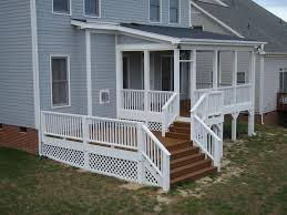 stained cedar decking with wood railing idea for the front porch