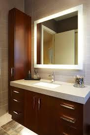 Bathroom Modern Vanities - backlit mirror bathroom contemporary with thick countertop wooden