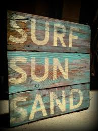 beach sign on wood sign reclaimed barn wood surf sun sand beach