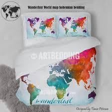 watercolor map bedding wanderlust bedding world map art duvet