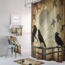 primitive grunge shower curtain rustic crows and stars details shower curtain