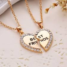 best friend gold necklace images Wish best friend gift heart gold rhinestone 2 pendant necklace jpg
