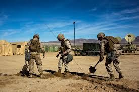 Marines Holding Flag Twentynine Palms Mcagcc