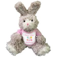 personalized easter bunnies personalized easter bunny 14 fuzzy beige bunny w pink shirt