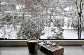 winter coffee book sky