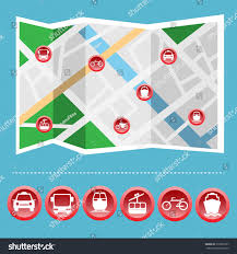 Cable Car Map Transportation Big Icon Set On Map Stock Vector 310350197