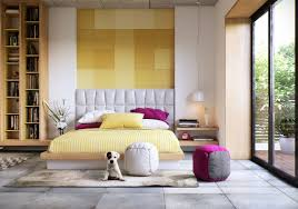 Yellow Feature Wall Bedroom Bedroom White Headboards White Matresses Gray Sofa Bedroom