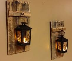 Lantern Wall Sconce Rustic Wood Candle Holder With Lantern 12 X 5 Wood Sconce