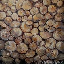 pile of wood original oil painting 40x40 cm country style
