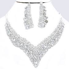 crystal shaped necklace images Clear crystal rhinestone cube jewel stone v shaped formal evening jpg