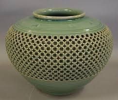 Celadon Vase Large Korean Celadon Vase With A Basket Weave And Crane Deco