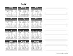 2016 Yearly Calendar Template with Notes