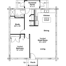 House Plans With Screened Porch Log Style House Plan 1 Beds 1 00 Baths 960 Sq Ft Plan 124 390