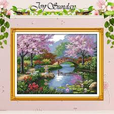 the beautiful scenery of park patterns counted cross stitch 11ct