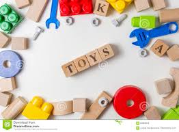 toys construction tools border on white background top view flat