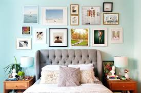 light blue wall art wall frame collage wall photo frames collage bedroom eclectic with