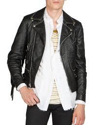 black motorcycle jacket mens saint laurent fringe leather moto jacket in black for men lyst