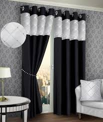 Black And Silver Curtains Ring Top Eyelet Lined Pintuck Curtains Faux Silk Black Silver Colour