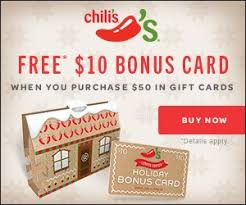 buy gift cards at a discount chili s buy 50 in gift cards free 10 ebonus card hip2save