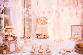 twinkle twinkle little star baby shower dessert table tulle and