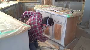 how to prep and spray kitchen island cabinet youtube