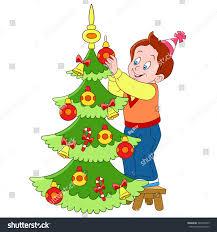 cute happy cartoon boy decorating xmas stock vector 345530549