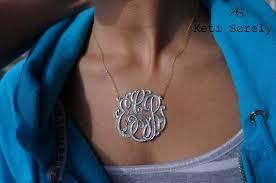 large monogram necklace diamond beaded monogram necklace two tone monogram small to
