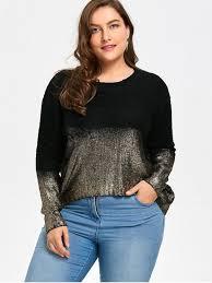 ombre glitter asymmetric plus size sweater black gold plus size