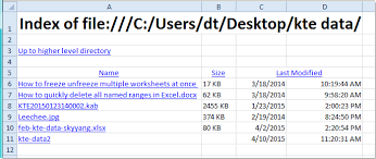 how to list files in a directory to worksheet in excel