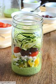 Meals In A Jar by Mason Jar Zucchini Pasta Salad With Avocado Spinach Dressing