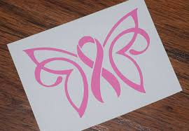 ribbon butterfly decal breast cancer decal pink ribbon