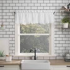 white kitchen cabinets with window trim no 918 mariela floral trim semi sheer rod pocket kitchen curtain valance 58 x 14 white