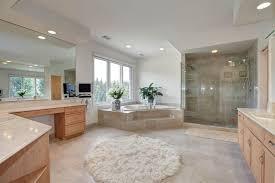 Tile Area Rug Contemporary Master Bathroom With Carpet Limestone Tile Floors