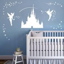 wall designer wall art stickers disney castle girls wall art sticker fairies fairy tinkerbell stars