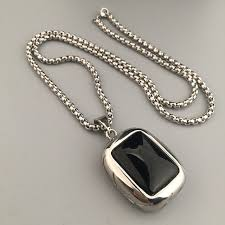 black stone pendant necklace images Mens jewelry black square stone charm titanium steel boxing link jpg