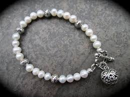 pearl clasp bracelet images Freshwater pearl bracelet with silver filigree heart charm and jpg