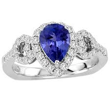 diamond tanzanite rings images 95 carat pear shape tanzanite ring with 48 ctw diamonds in 14k jpg