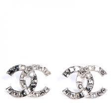 cc earrings chanel baguette cc earrings grey 74237