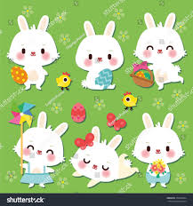 easter bunny set easter bunnies flowers stock vector 370378064