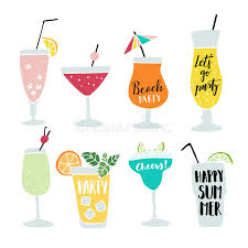 Cocktail Party Quotes - set of hand drawn alcoholic drinks cocktails with lettering