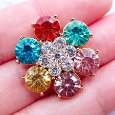 hair bow center bling bling flower cabochon rhinestone hair bow center metal